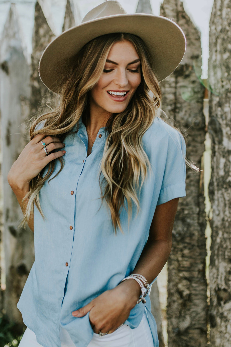 Sutton Button Up in Light Blue | ROOLEE