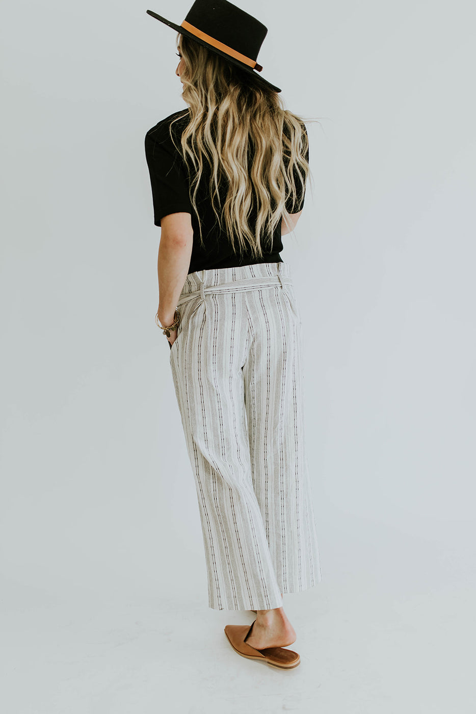 White with Black Print Linen Pants | ROOLEE