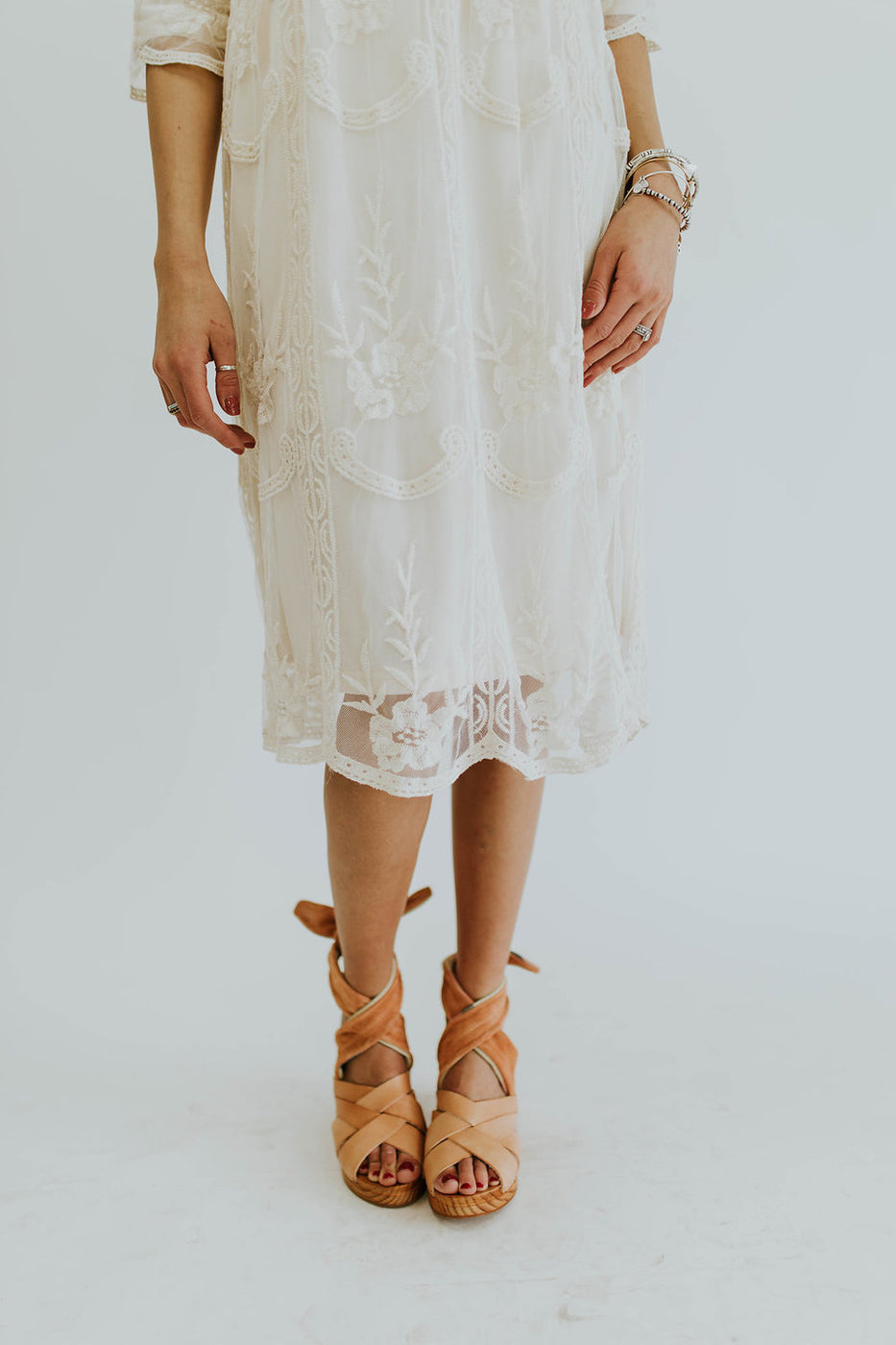 Nora Lace Dress in Ivory