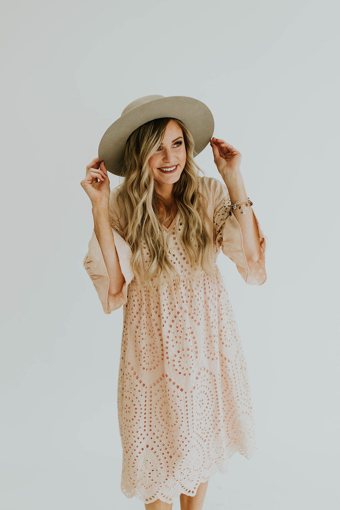 Falling For You Eyelet Dress in Blush