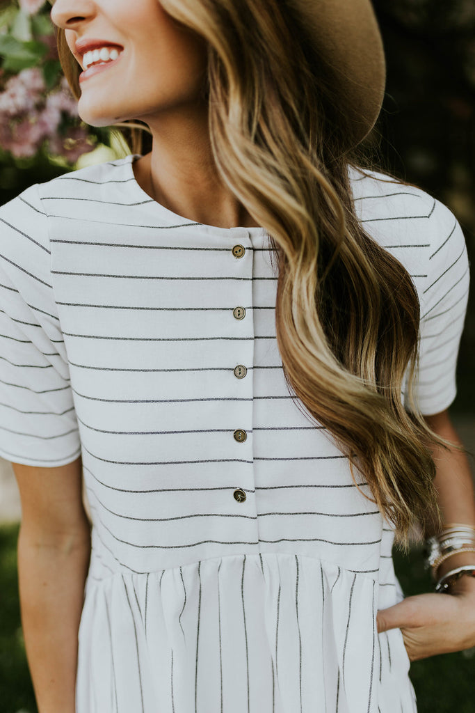 Ivory Striped Dress | ROOLEE