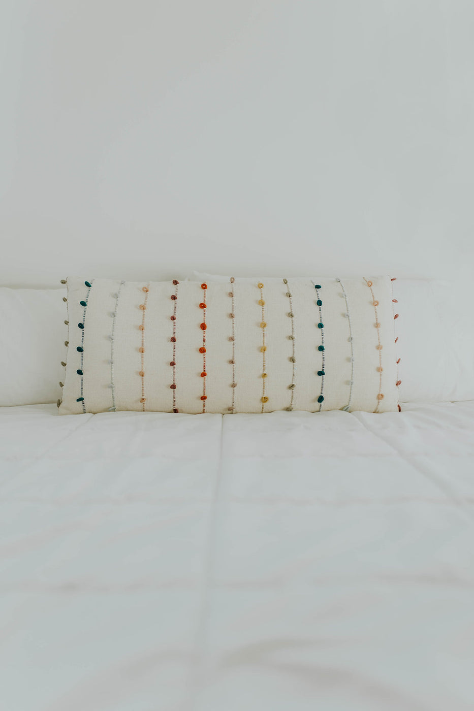 White + Colorful Embroidery Pillow | ROOLEE