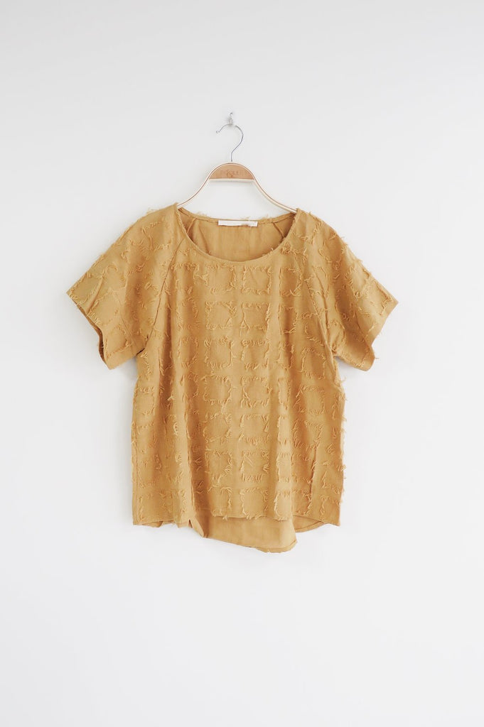 Pieces of Me Fray Top in Gold