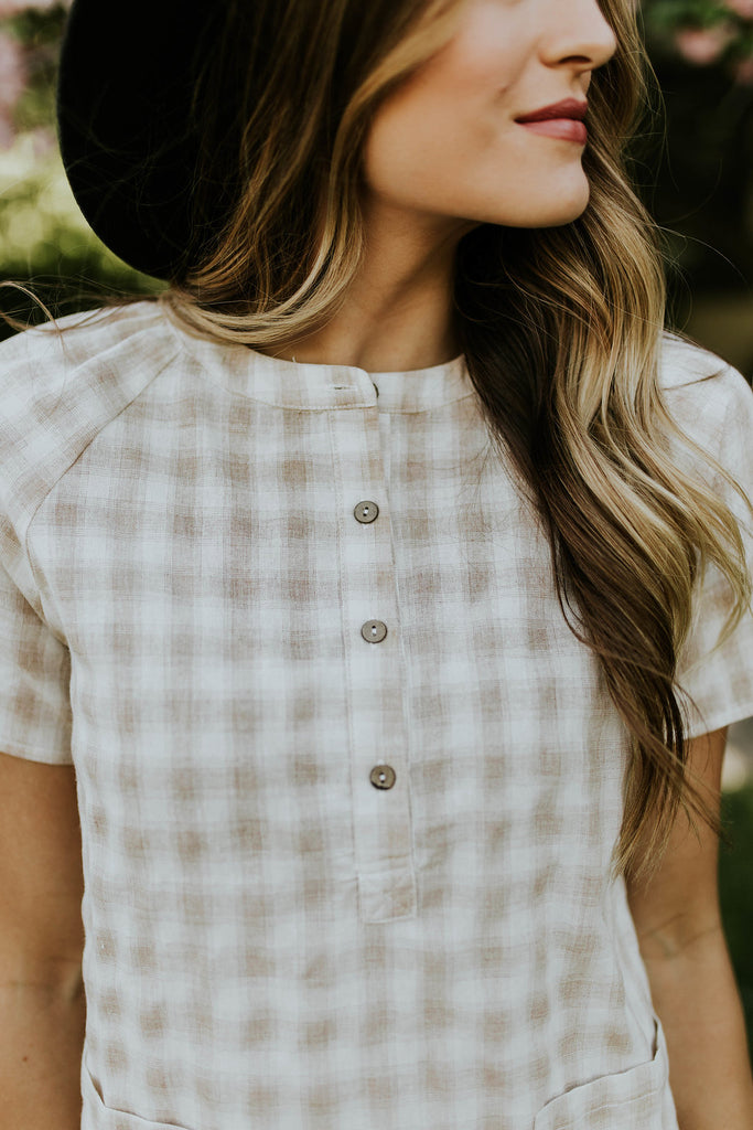 Mandarin Collar Plaid Top | ROOLEE