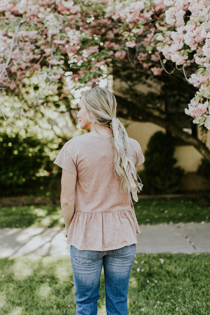 Pink Mineral Wash Tee | ROOLEE