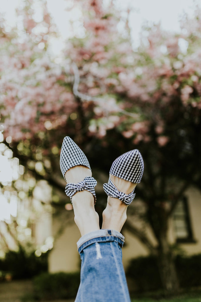 Buttercup Detail Flats in White Plaid | ROOLEE