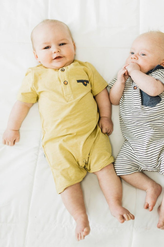 Bennett Henley Romper in Yellow | ROOLEE