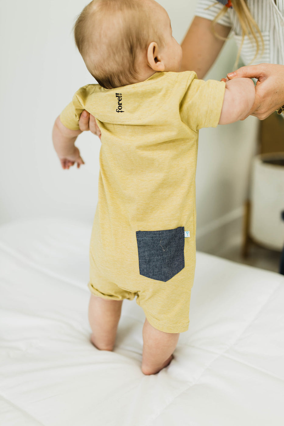 Yellow + White Micro Stripe Romper | ROOLEE