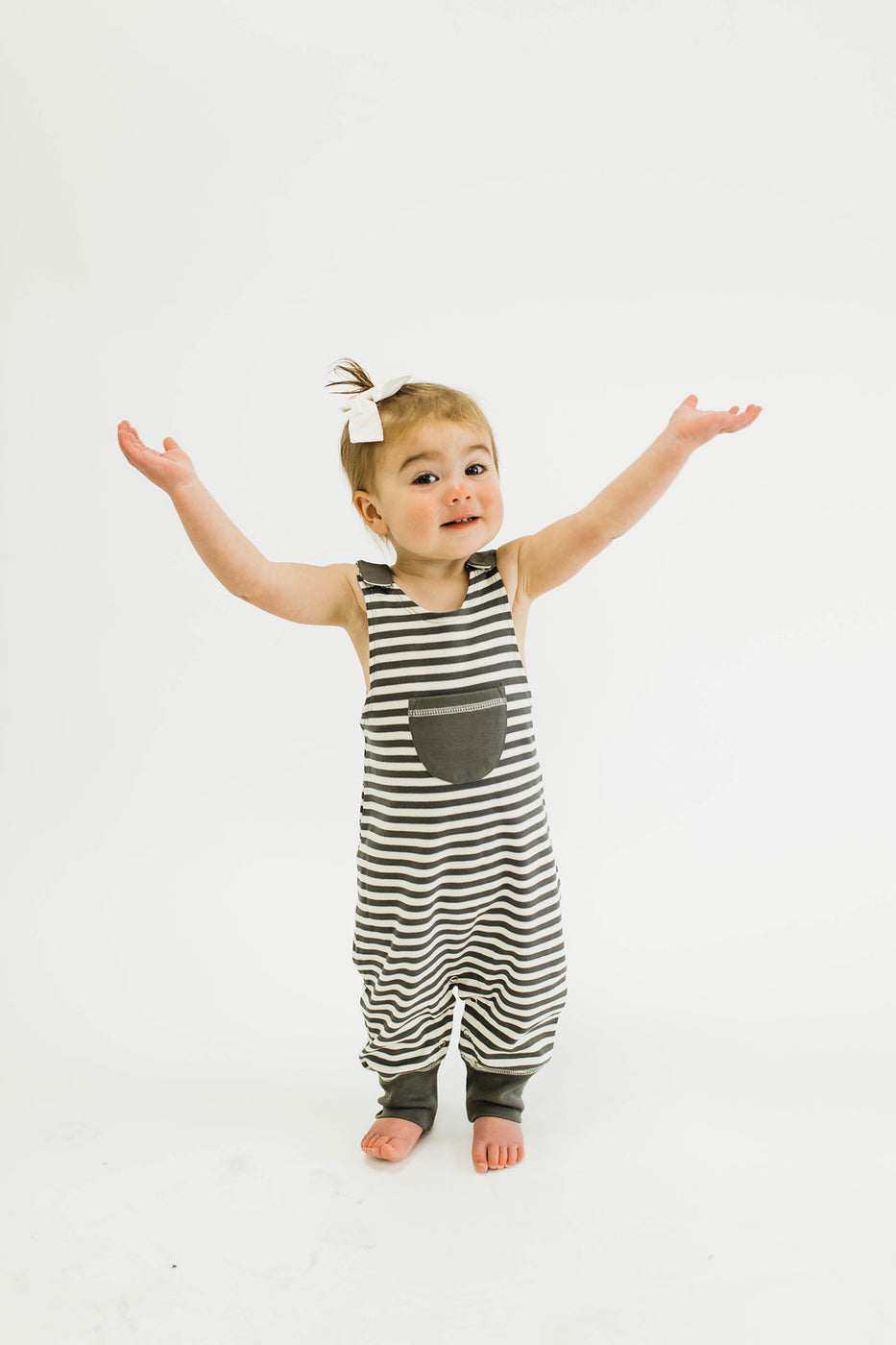 London Harem Romper in Grey | ROOLEE Kids