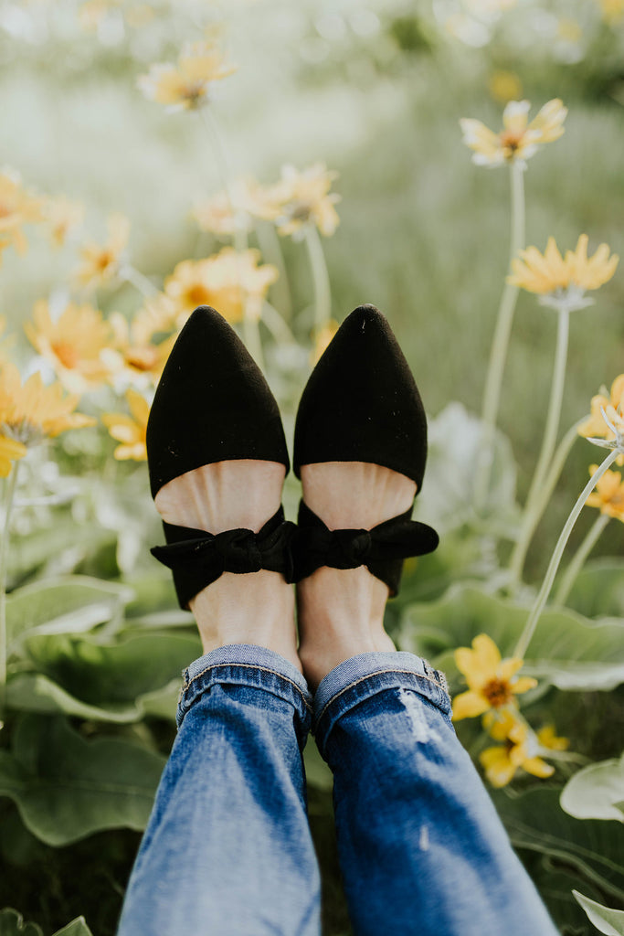 Buttercup Detail Flats in Black | ROOLEE