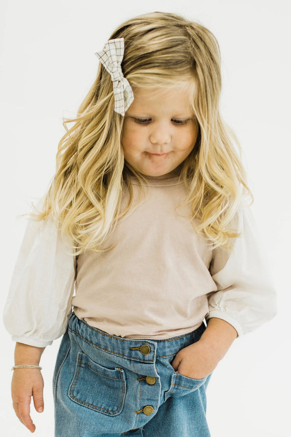 Kids Top with Contrast Pillow Sleeves | ROOLEE Kids