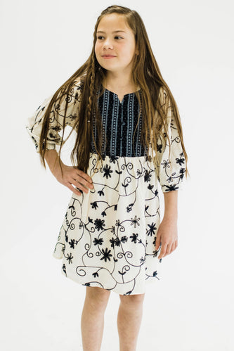 Tatum Embroidered Dress | ROOLEE Kids