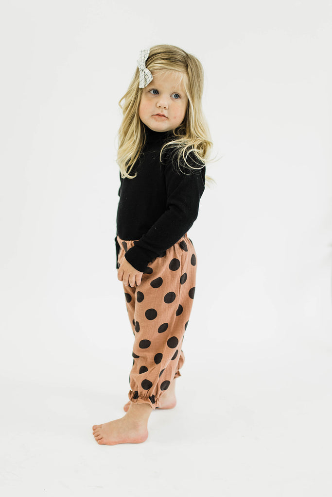 Blush Polka Dot Pants | Roolee Kids
