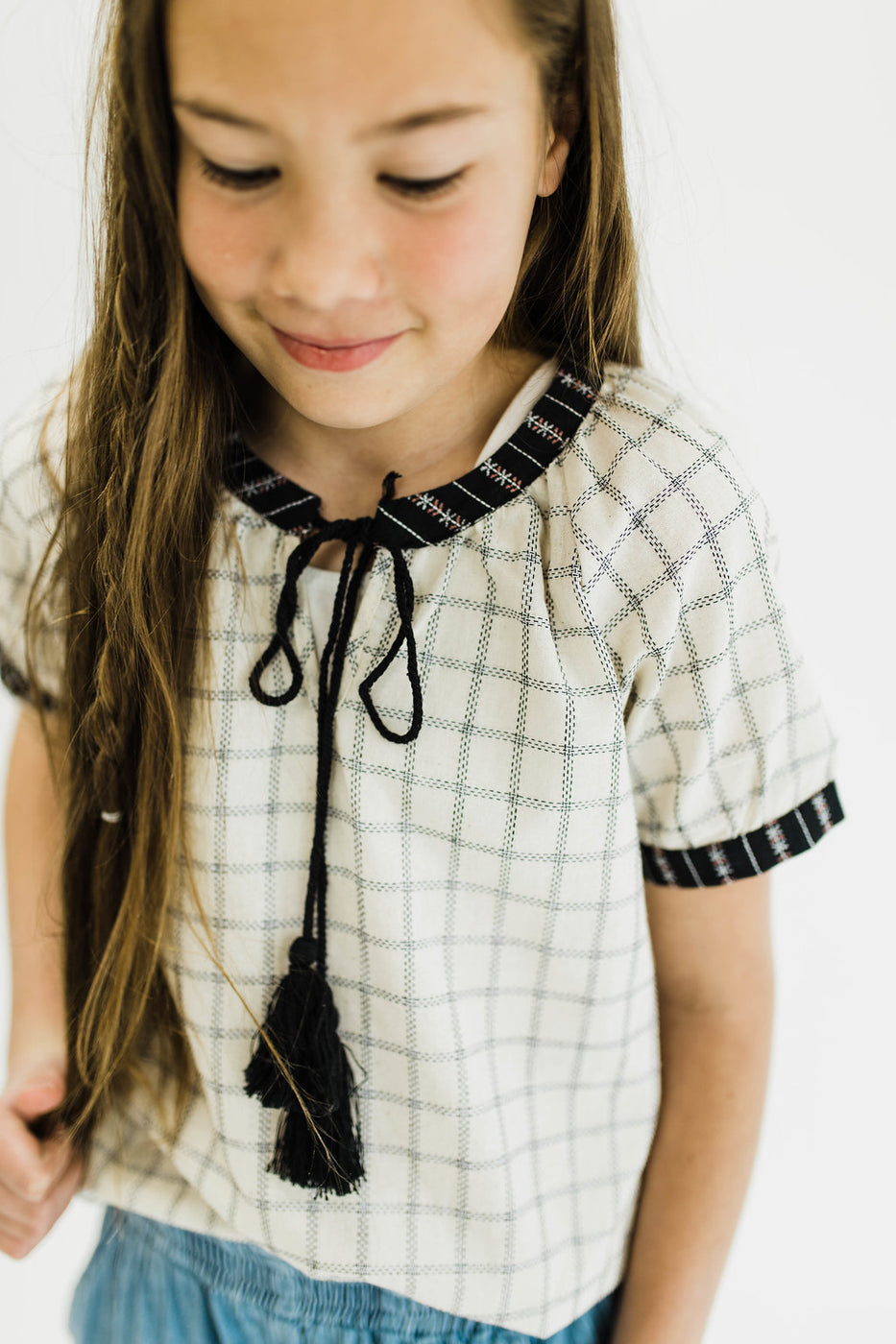 Black + White Plaid Top With Tassel Ties | ROOLEE Kids