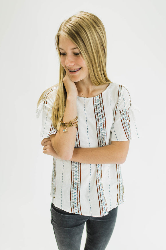 Dellani Print Top in White | ROOLEE Kids