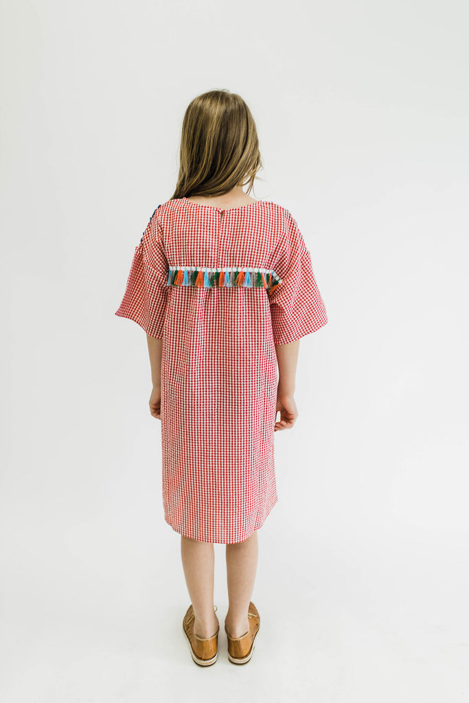 Plaid Dress w/Colorful Tassels + Embroidery | ROOLEE
