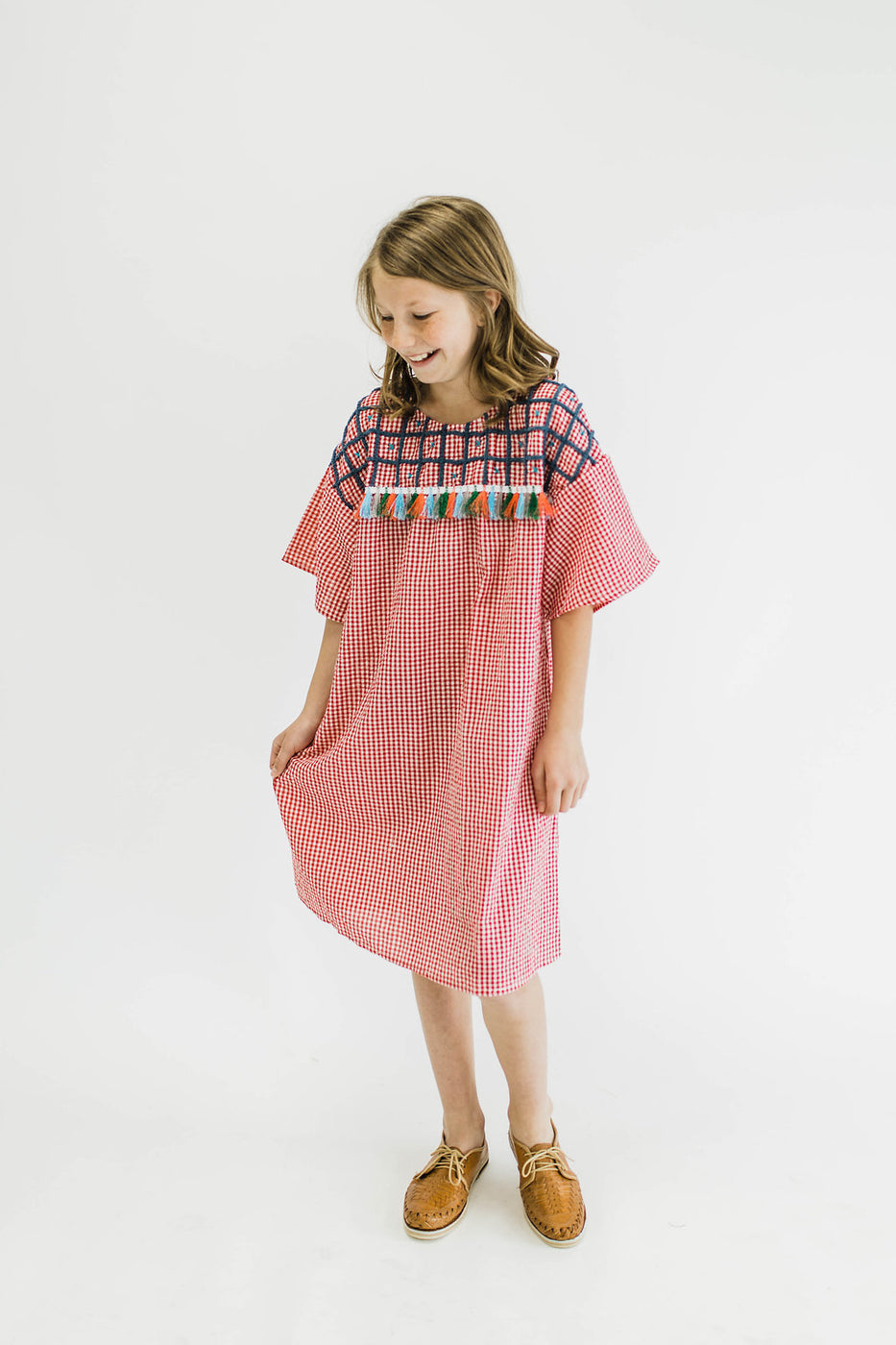 Embroidered Gingham Dress | ROOLEE