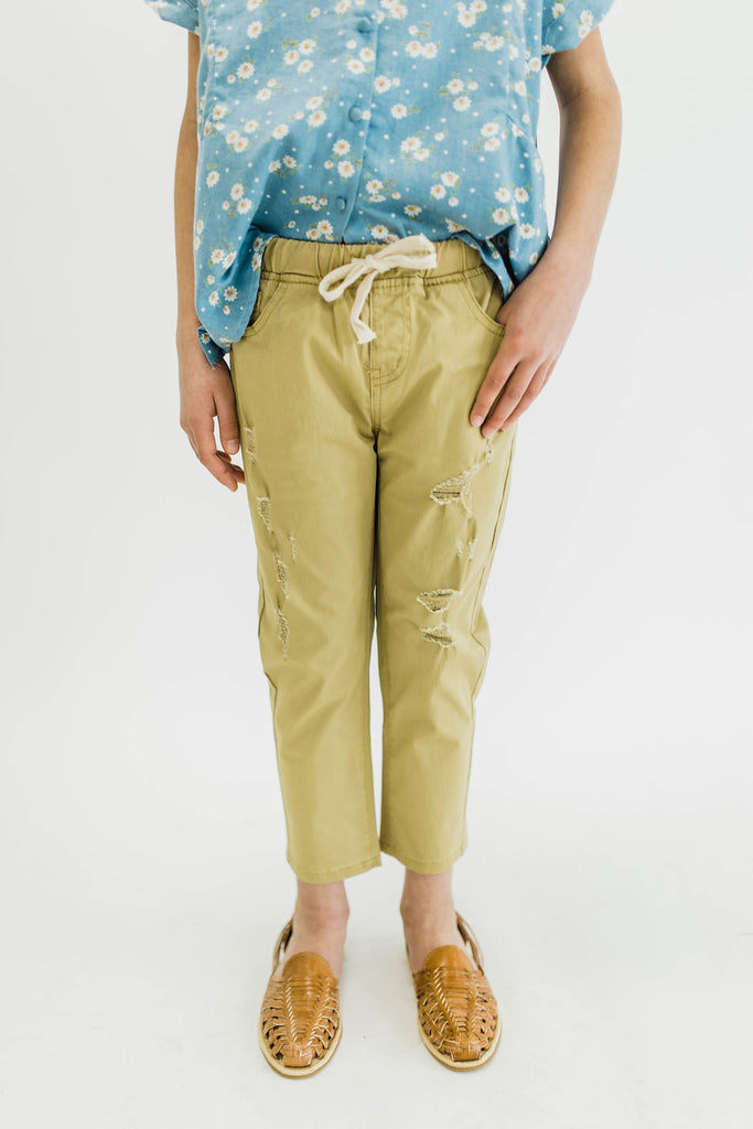 Green Yellow Distressed Pants | ROOLEE