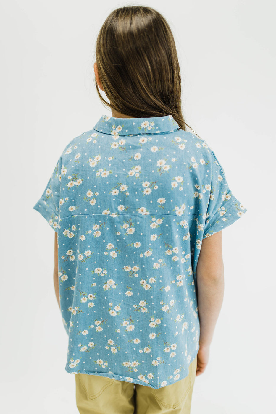 Denim Button Up w/Daisy Printed Pattern | ROOLEE Kids