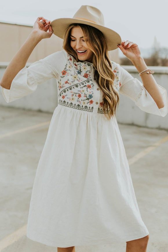 Bailee Embroidered Dress in Natural | ROOLEE