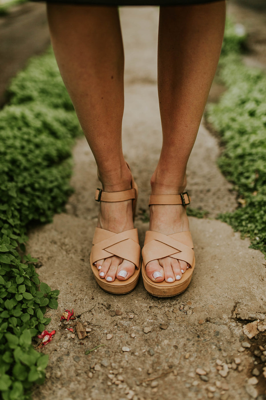 Natural Leather Platform Heel Sandals | ROOLEE
