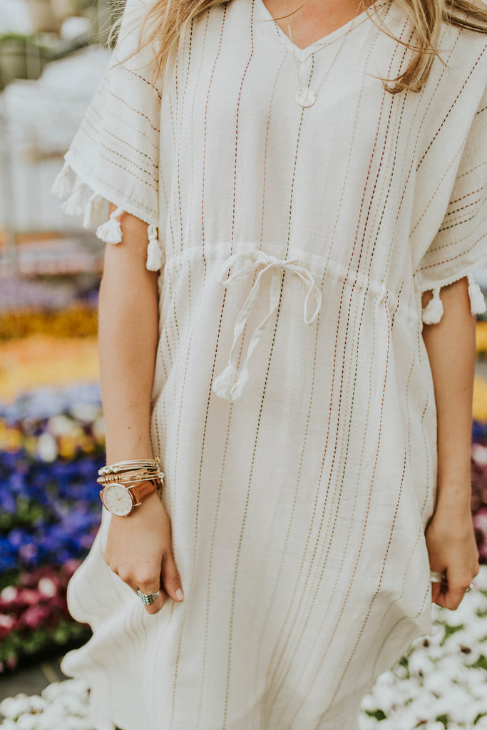 Ivory Dress with Colorful Stitching | ROOLEE
