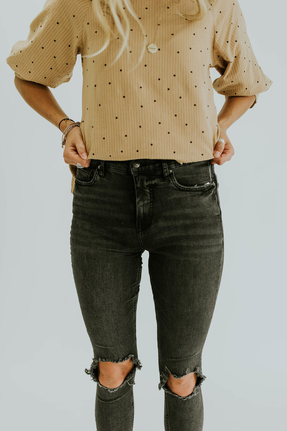 Free People Busted Skinny in Washed Black