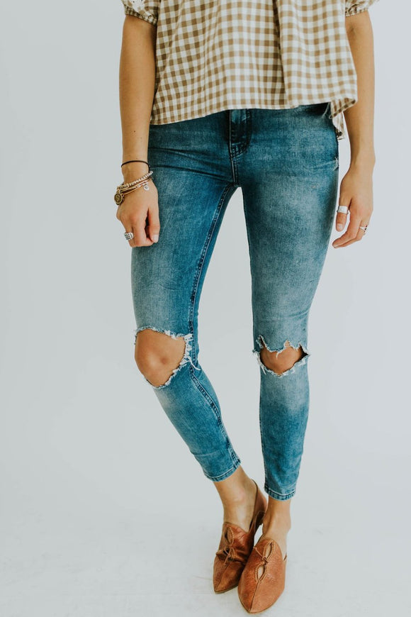Free People Busted Skinny in Crystal Blue