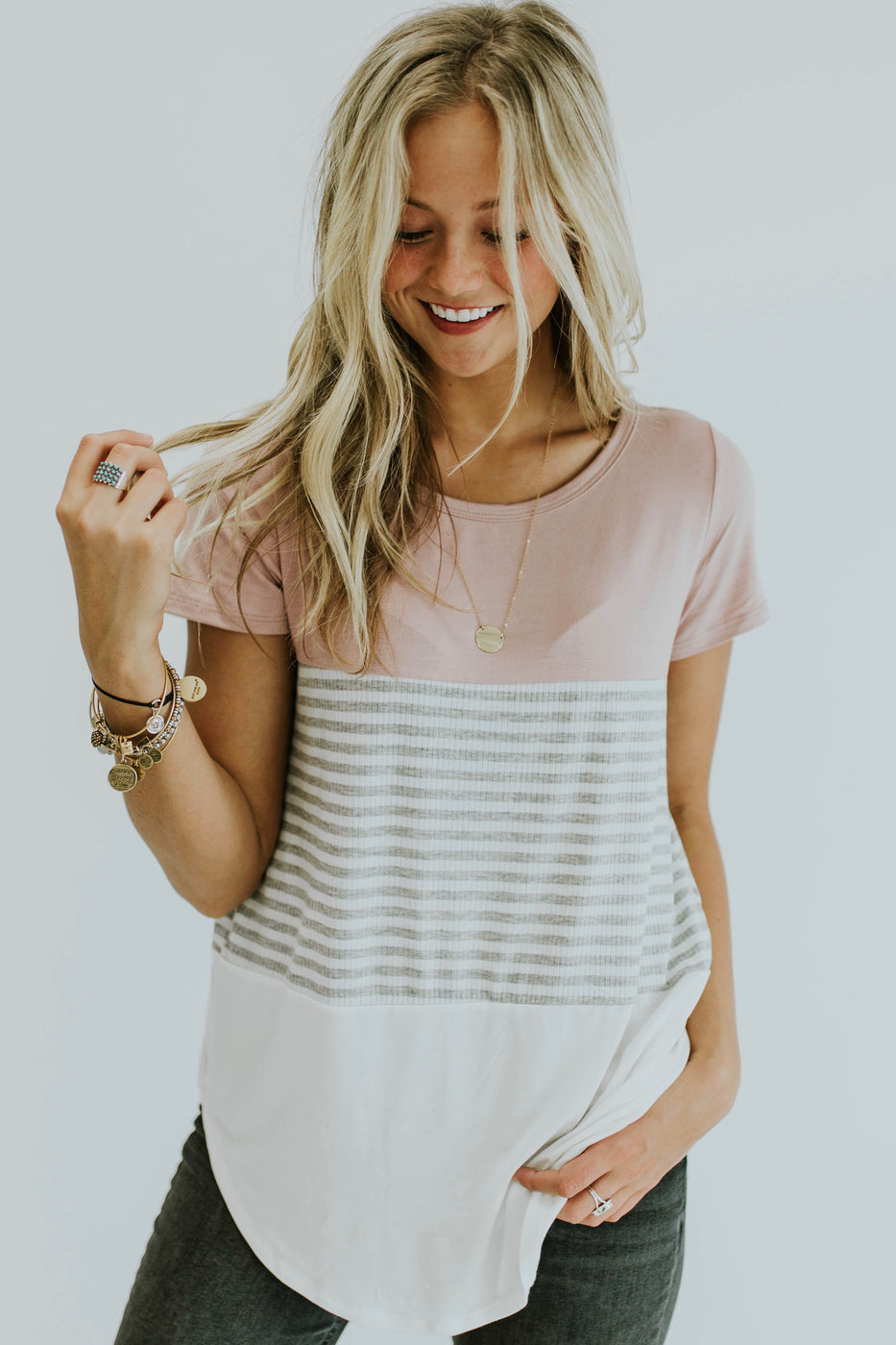Triple Threat Color Block Top in Mauve | ROOLEE