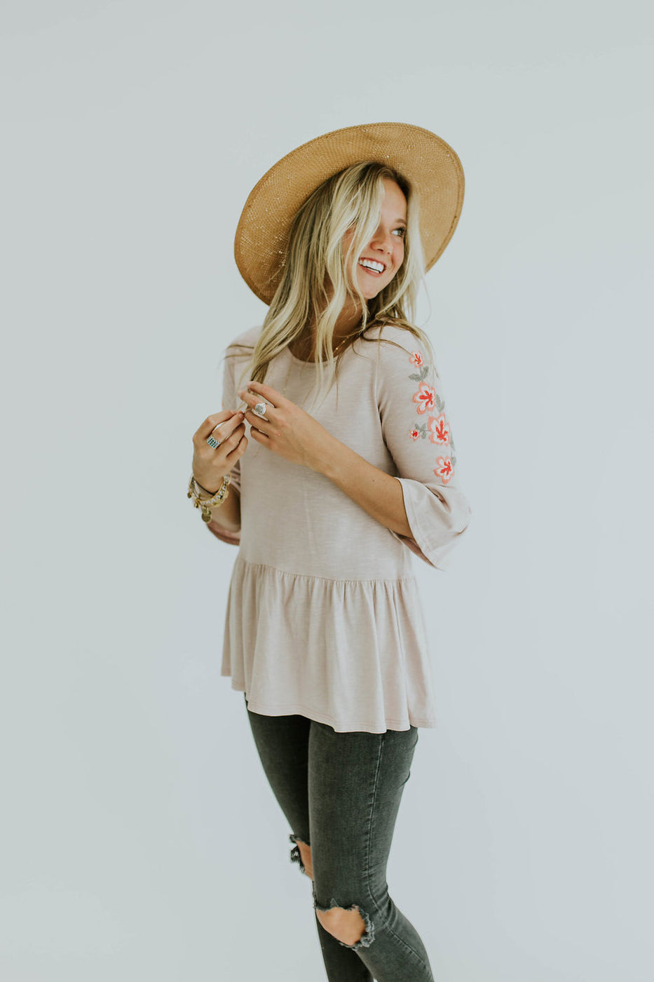 April Embroidered Blouse in Blush