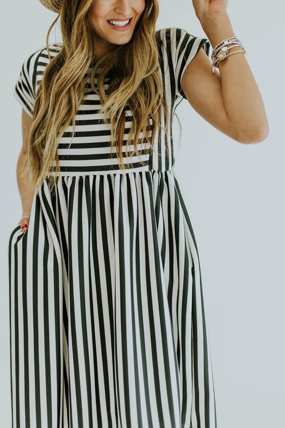Micah Stripe MOM Dress | ROOLEE
