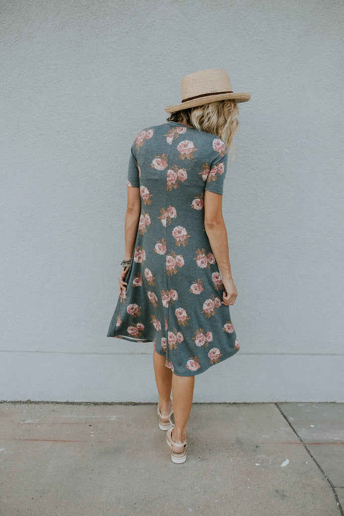 Mariah Floral Midi in Steel Blue