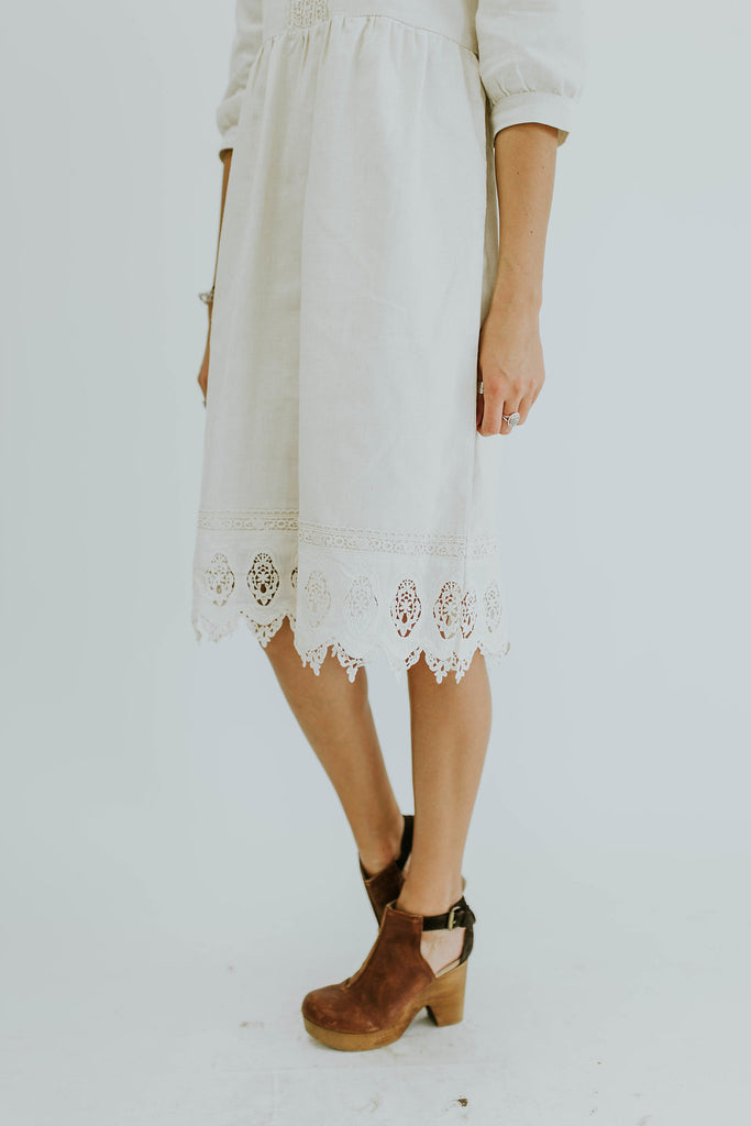 Off White 3/4 Length Dress | ROOLEE