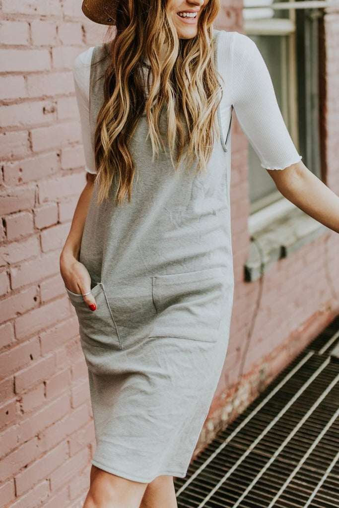 Knit Grey Dress with Pockets | ROOLEE