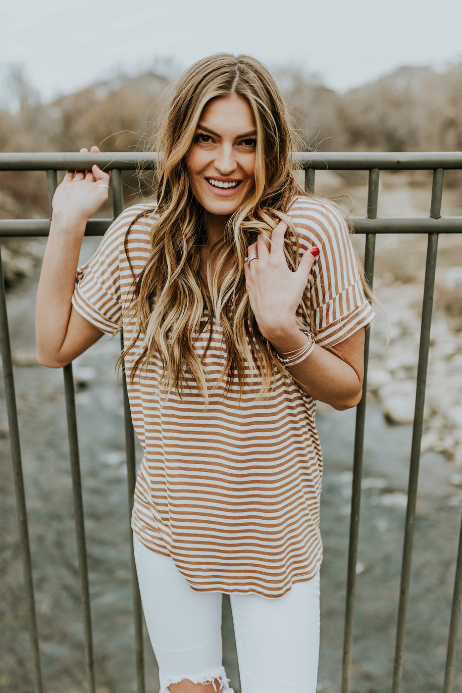Tan + White Stripe Slouch Tee | ROOLEE