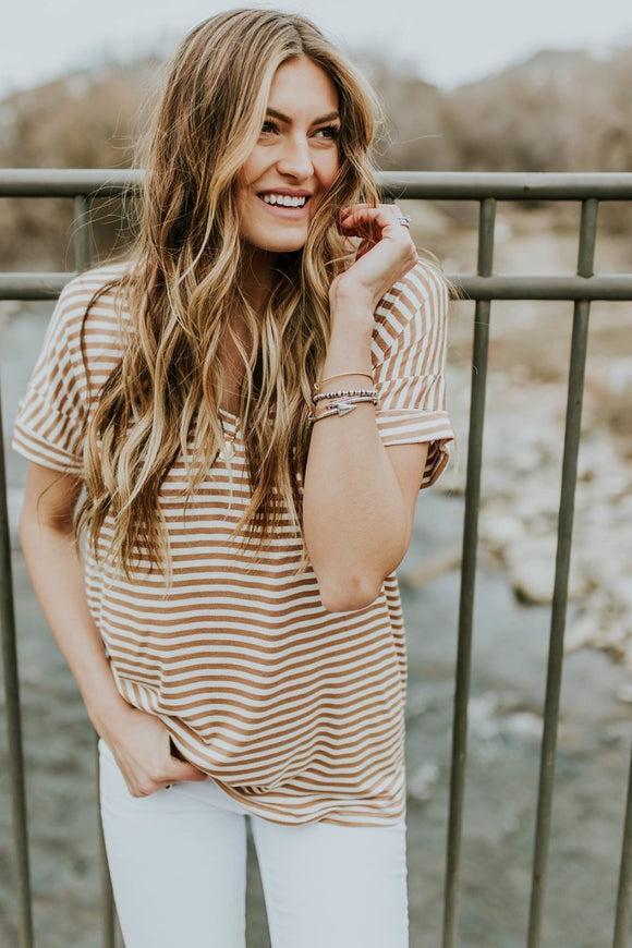 Gwyneth Stripe Tee in Peru | ROOLEE