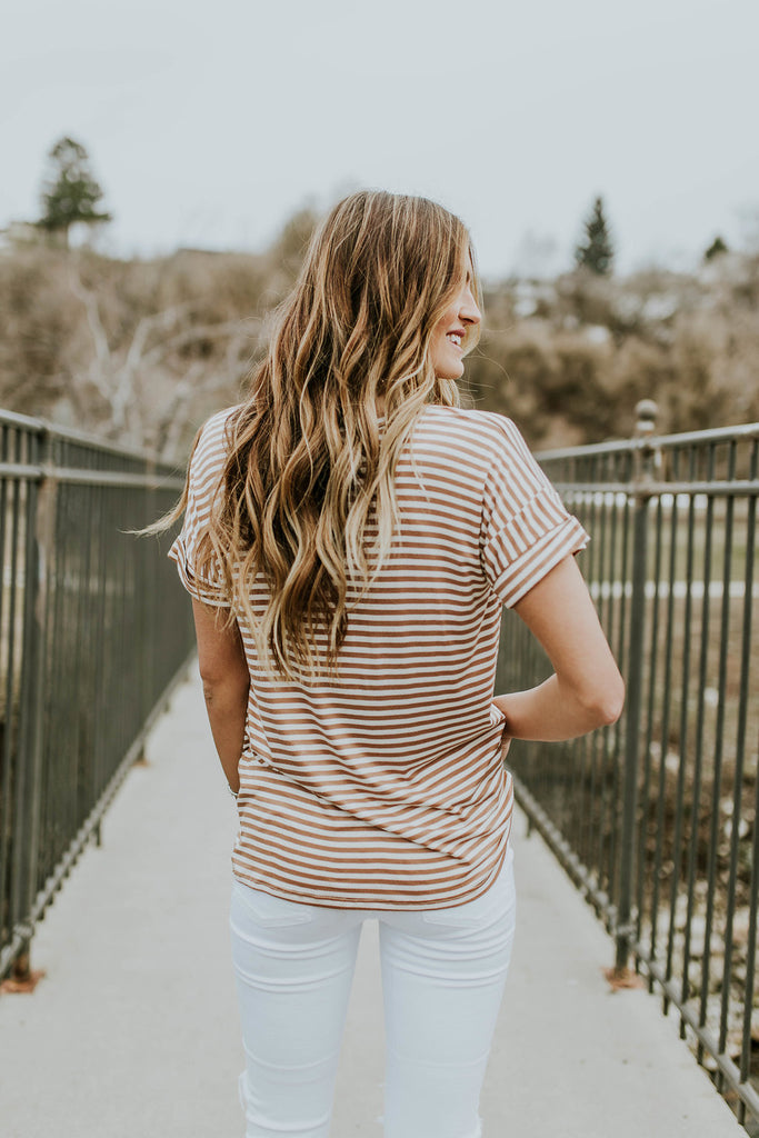 Rolled Cuff Stripe Tee | ROOLEE