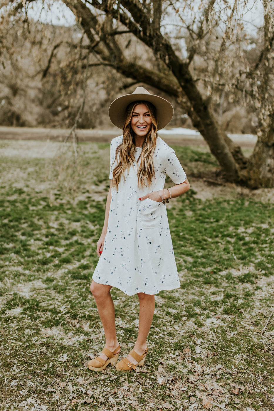 White Pocket Dress w/Blue Floral Print | ROOLEE