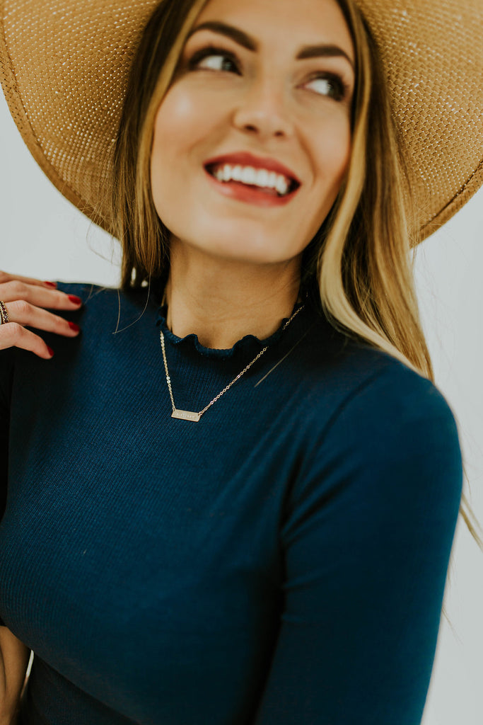 Ribbed Mock Neck Navy Top | ROOLEE