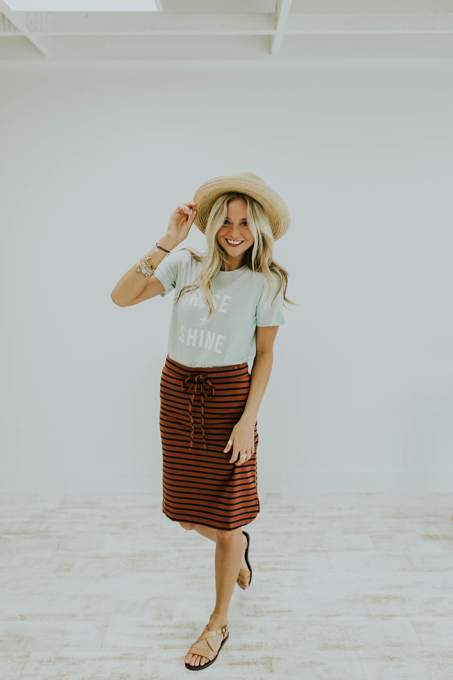 Rise + Shine Print Shirt and Elastic Waist Skirt | ROOLEE