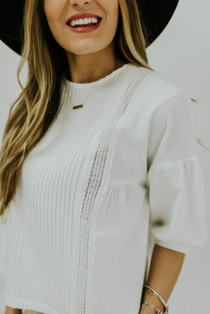 White Ribbon Detail Blouse | ROOLEE