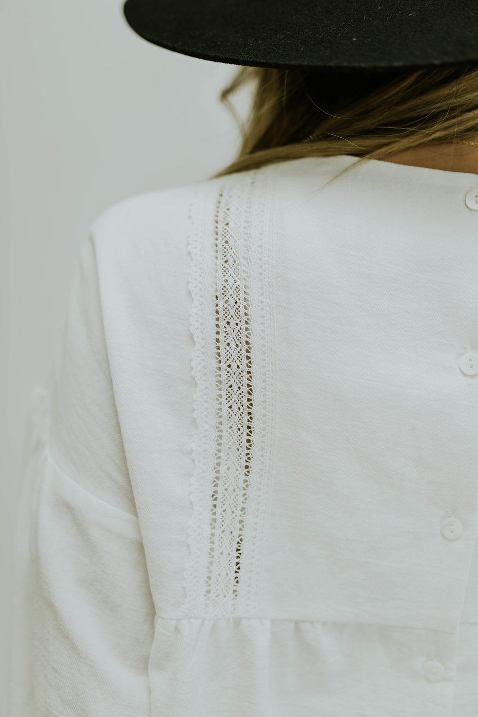 White Boho Style Top with Embroidery | ROOLEE