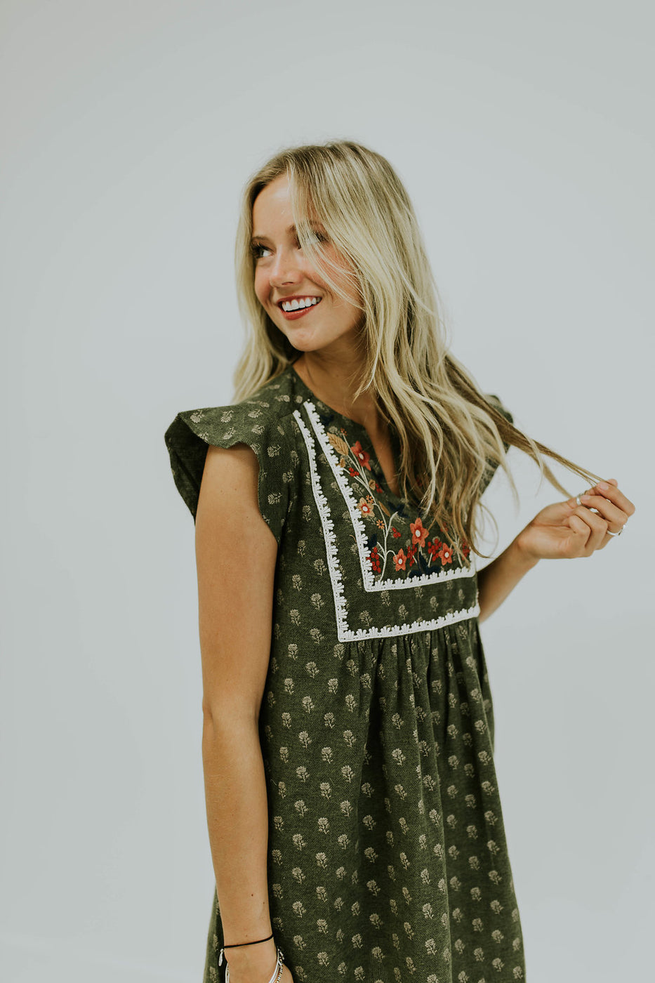 Embroidered Summer Dress with Pockets | ROOLEE