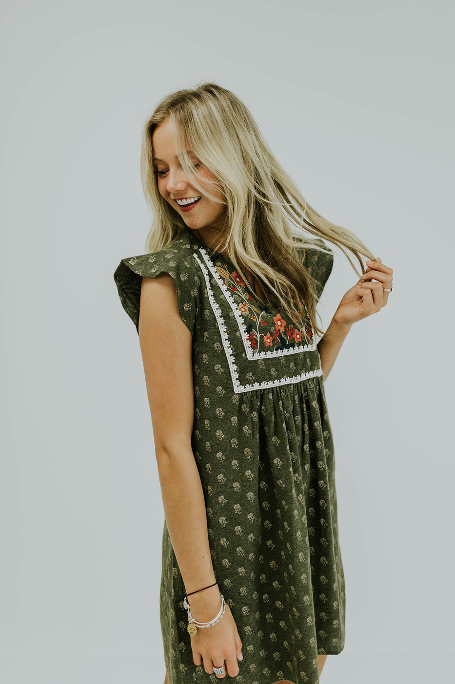 Short Sleeve Embroidered Dress with Pockets | ROOLEE