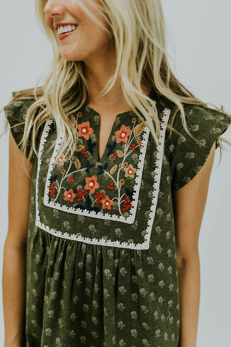 Floral Embroidery on Front of Dress | ROOLEE