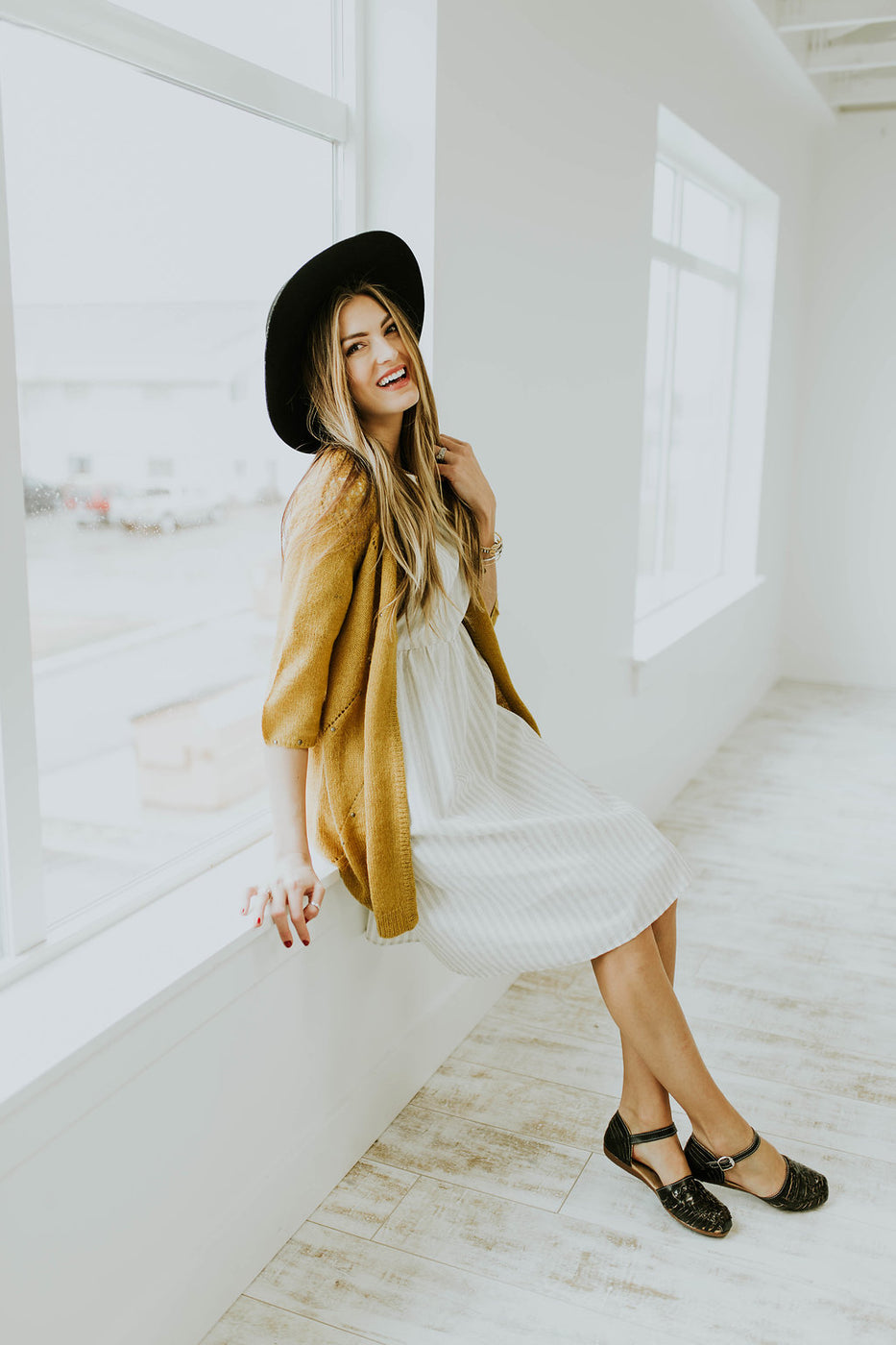 Mustard Cardigan + Neutral Dress | ROOLEE