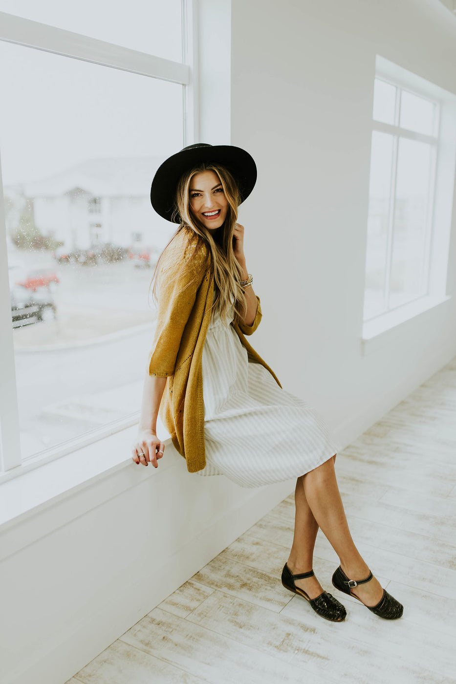 Muted Gold Hip Length Cardigan | ROOLEE