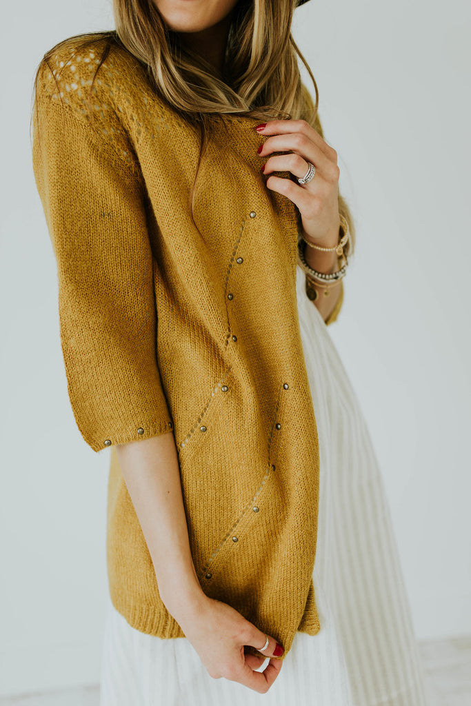 Crocheted Embroidery Mustard Cardigan with Brass Detail | ROOLEE