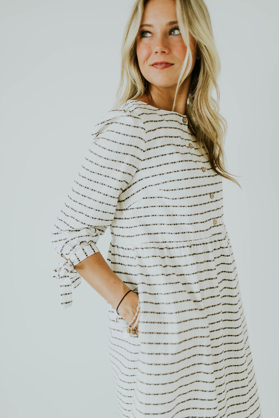 White Dress with Mini Stripes and Pockets | ROOLEE