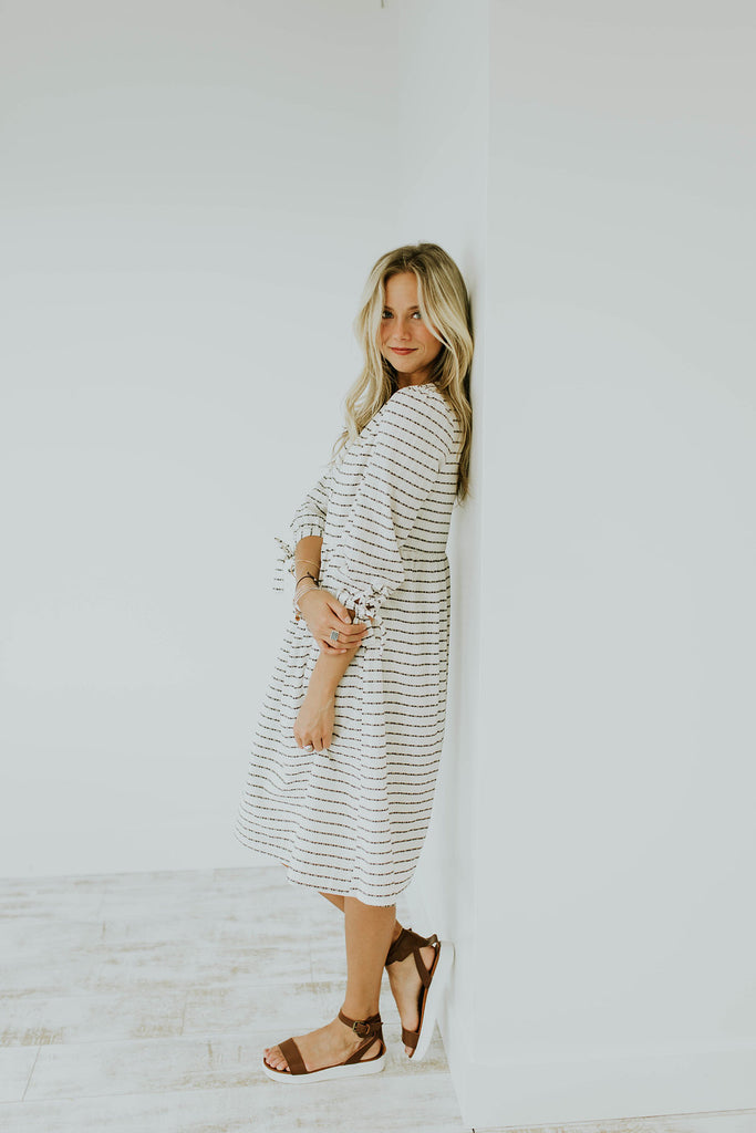 Basic White + Black Dress with Pockets + 3/4 Sleeves | ROOLEE